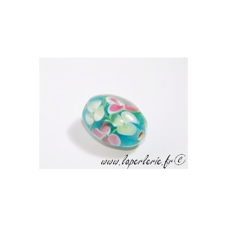 Olive inclusion 3 fleurs 16mm AQUAMARINE
