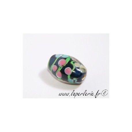 Olive inclusion 3 fleurs 16mm BLEU MARINE