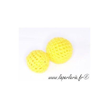 Perle crochet 15mm JAUNE x6