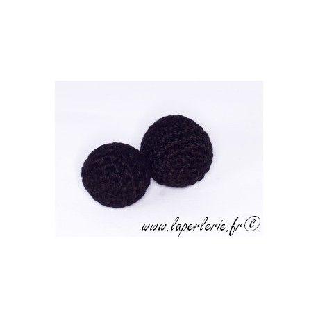 Perle crochet 25mm NOIR x6