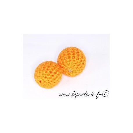 Perle crochet 25mm ORANGE x6
