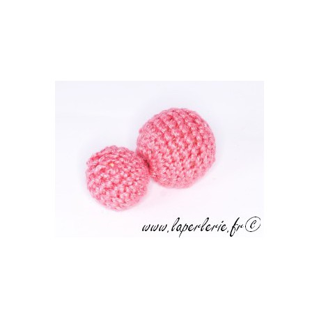 Perle crochet 15mm ROSE x6