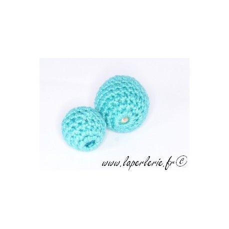 Perle crochet 25mm TURQUOISE x6