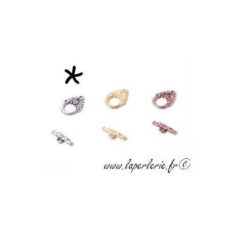 Fermoir barre + anneau feuillage ARGENT