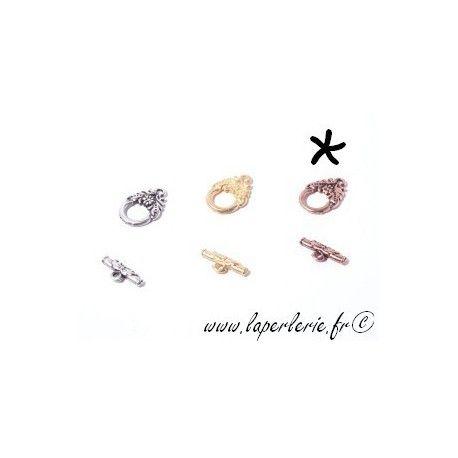 Fermoir barre + anneau feuillage CUIVRE