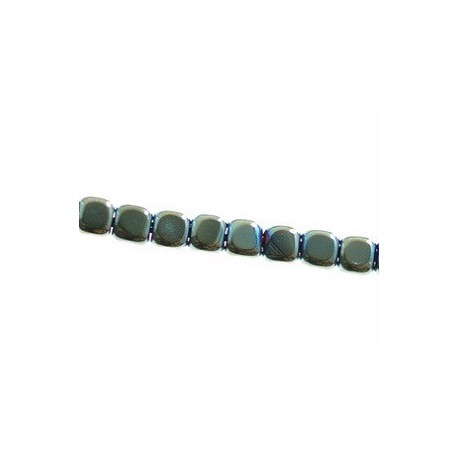 Hematite cubo aplanado alambre 2x3mm SCARABE VERDE alambre 40cm