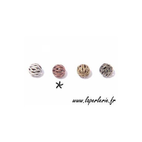 Filigreed bead 6mm OLD COPPER COLOR