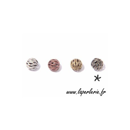Filigreed bead 6mm TIN COLOR