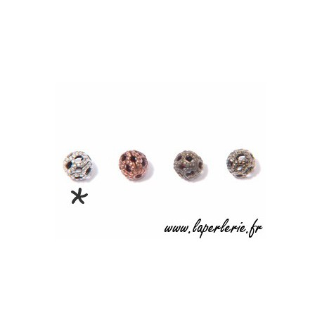 Filigreed bead 4mm MAT SILVER COLOR