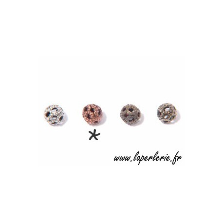 Filigreed bead 4mm OLD COPPER COLOR