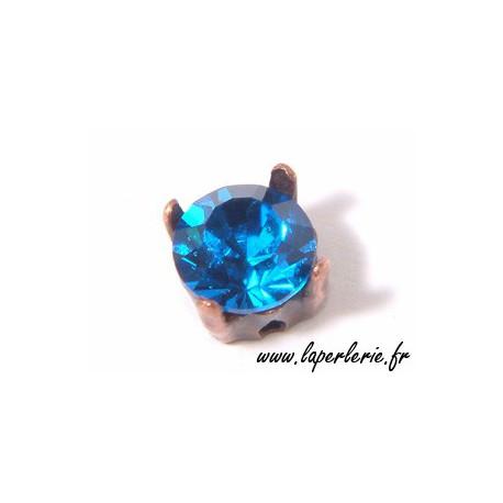 Strass pte diamant 6 mm CAPRI BLUE x2