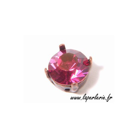 Strass pte diamant 6 mm FUCHSIA x2