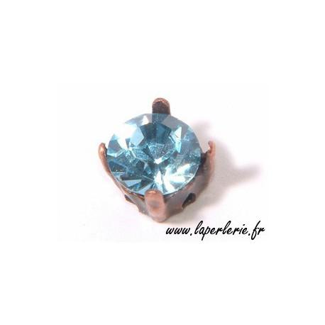 Strass pte diamant 8 mm AQUAMARINE x2
