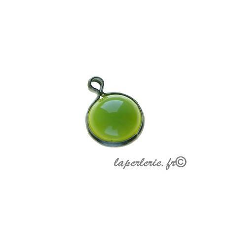 Round pendant metal around 10mm GREEN APPLE