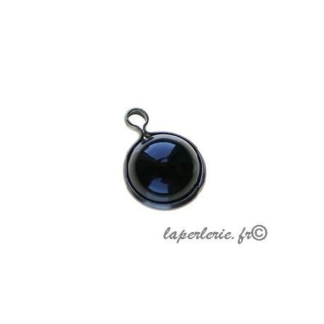 Round pendant metal around 10mm JET