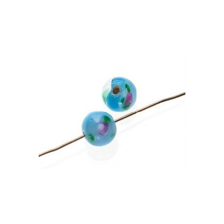 Round flower inside 8mm TURQUOISE