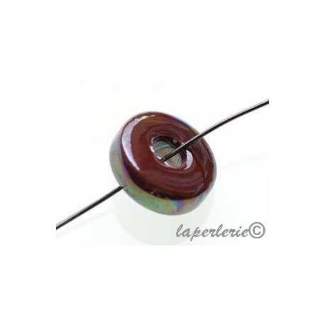 Ceramic rondelle iris 15/16mm CHOCOLAT x3