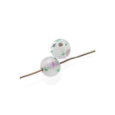 Ronde inclusion fleur 8 mm WHITE OPAL