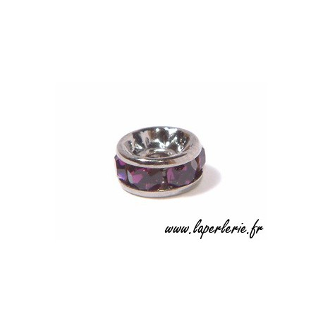 Strass rondelle 6mm AMETHYST/SILVER COLOR x4