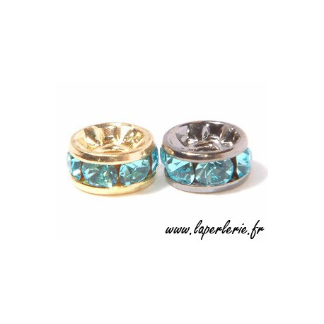 Strass rondelle 6mm AQUAMARINE/SILVER COLOR x4