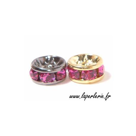 Rondelle strass 6 mm FUSHIA/DOREx4
