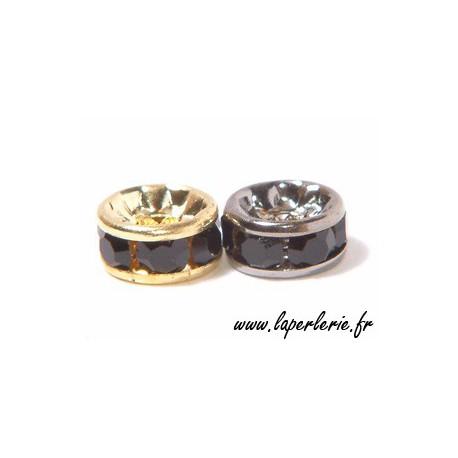 Strass rondelle 6mm JET/GOLD COLOR x4