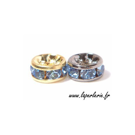 Strass rondelle 6mm LIGHT SAPPHIRE/GOLD COLOR x4