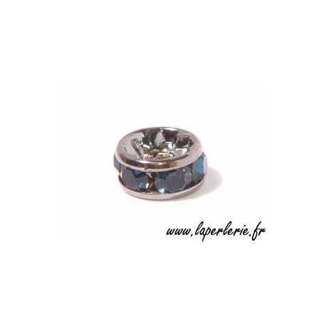Rondel strass 6mm MONTANA/PLATEADOx4