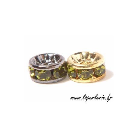 Rondelle strass 6 mm OLIVINE/ARGENTx4