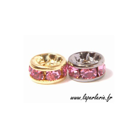 Strass rondelle 6mm ROSE/SILVER COLOR x4