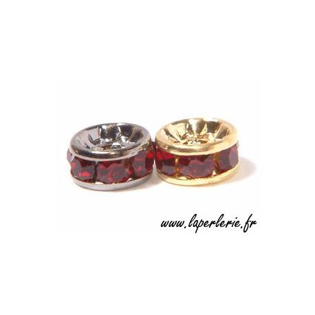 Rondelle strass 6 mm SIAM/ARGENTx4