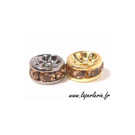 Strass rondelle 6mm SMOKED TOPAZ/SILVER COLOR x4