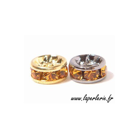 Strass rondelle 6mm TOPAZ/GOLD COLOR x4