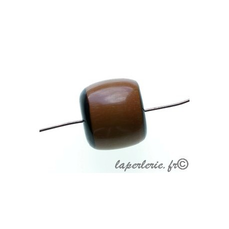 Cylindre polyester indien bords noirs 17x16mm MARRON