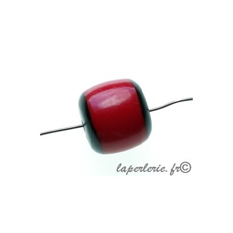 Cylindre polyester indien bords noirs 17x16mm ROUGE