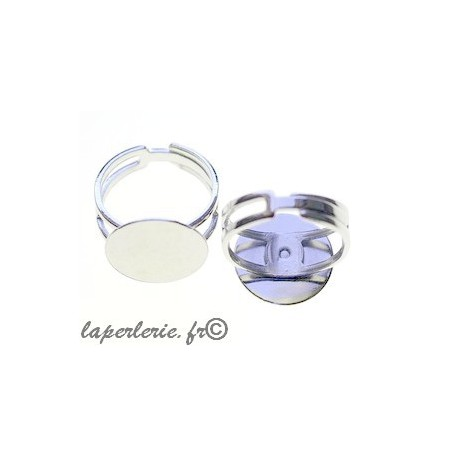 Adjustable ring with plate 15mm SILVER COLOR