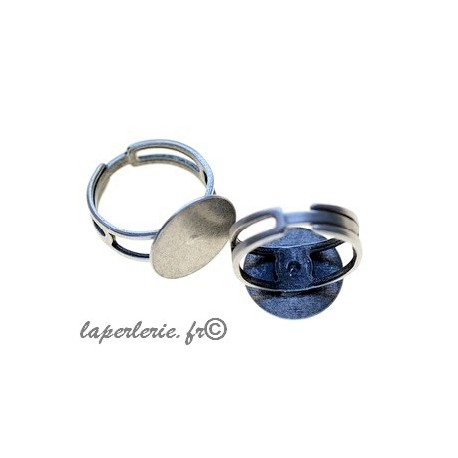Adjustable ring with plate 15mm OLD SILVER COLOR