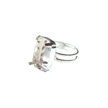 Ring with rectangle setting 18x13mm Sterling Silver 925