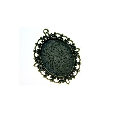 Medaillon for cabochon 61x48mm (ins.30x40mm) BRONZE COLOR