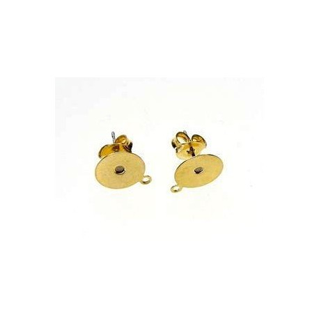 Flat pad earstuds 10mm + ring GOLD COLOR x2