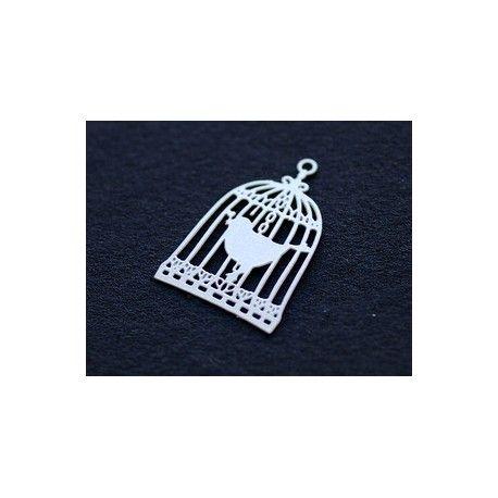 Laser cut émaillé cage à oiseaux 22x15mm BLANC x2