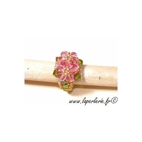 Kit Bague Double Fleurs ROSE / OLIVINE