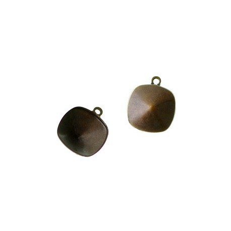 Stick-on support for square cabochon 12mm BRONZE COLOR x1