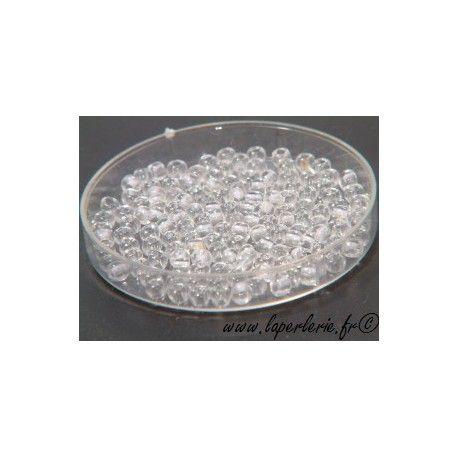 Rocaille 2.2mm CRYSTAL, mesure de 12.50 gr environ 400 perles