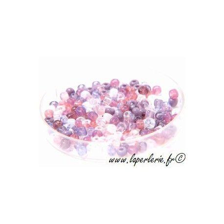 Rocaille MELANGE MAUVE, mesure de 12.50 gr environ 400 perles