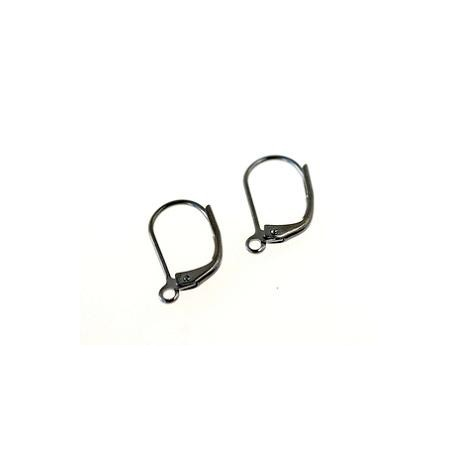 Leverback earrings 15x9mm TIN COLOR x2