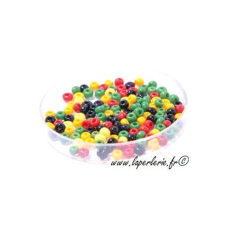Rocaille MELANGE RASTA, mesure de 12.50 gr environ 400 perles