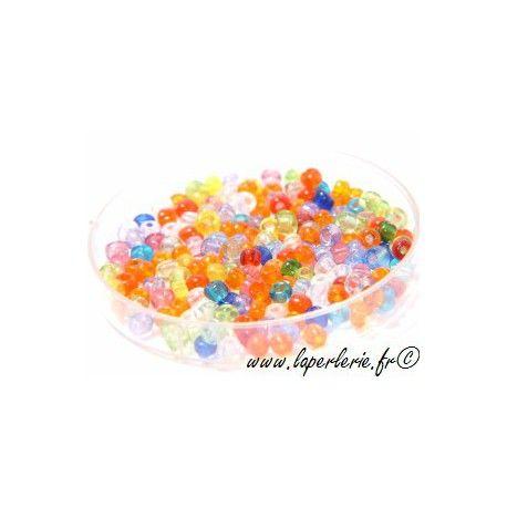 Rocaille MELANGE TRANSPARENT, mesure de 12.50 gr environ 400 perles